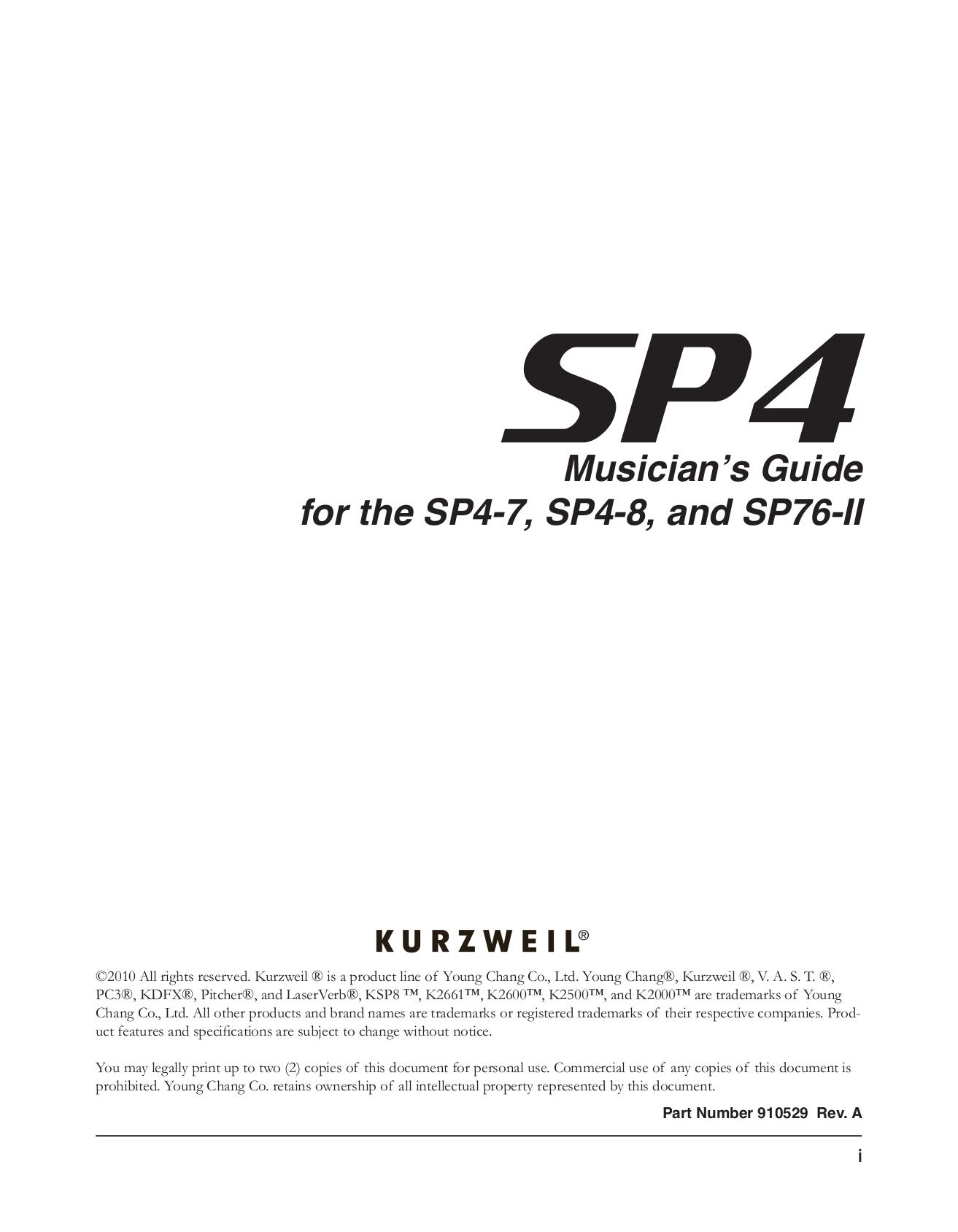 pdf for Kurzweil Music Keyboard K2661 manual