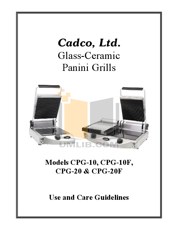 pdf for Cadco Grill CPG-20 manual
