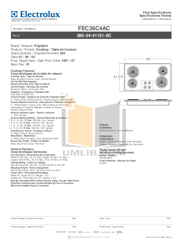 pdf for Frigidaire Range FEC36C4AC manual