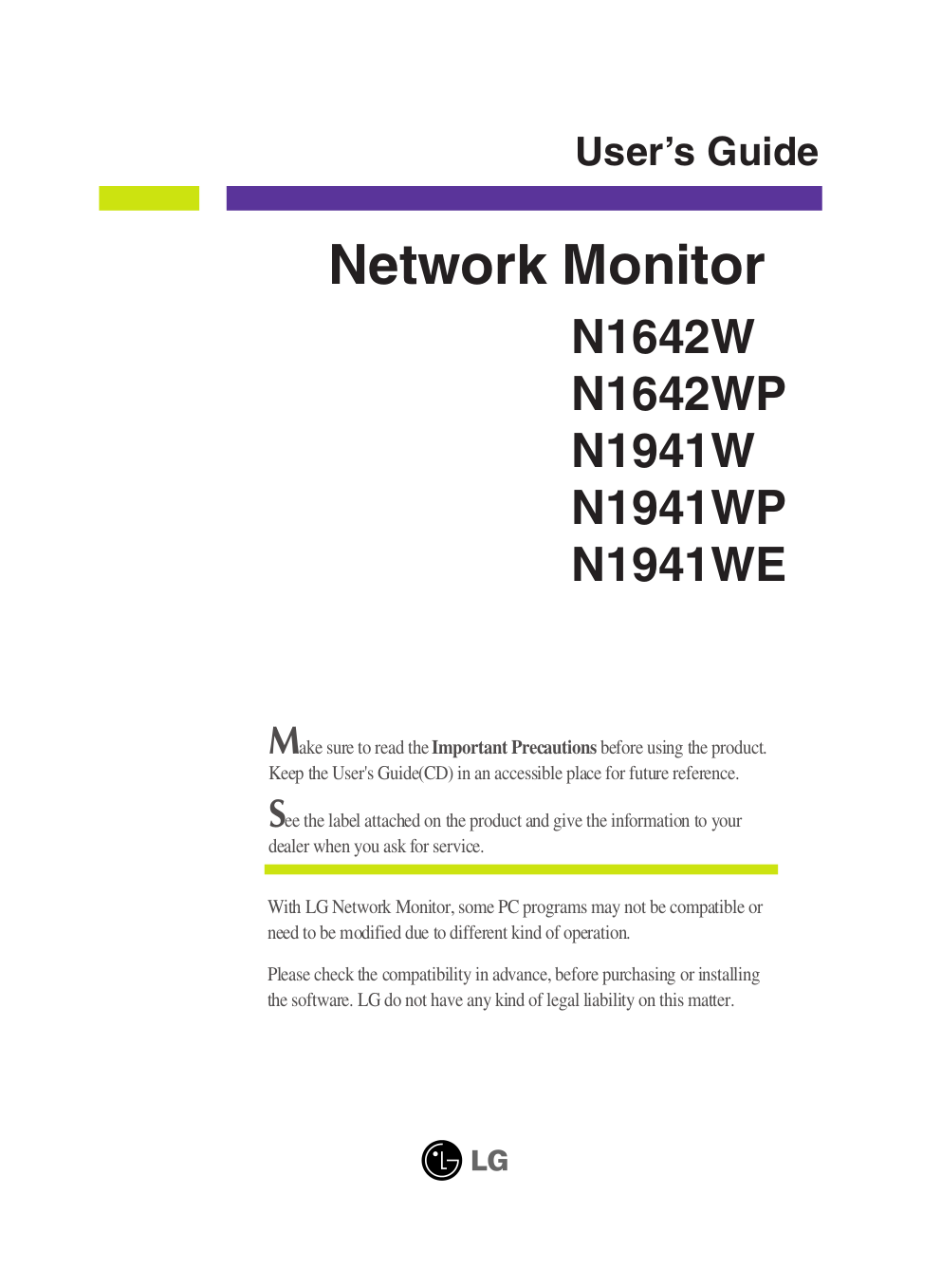 pdf for LG Monitor N1941WP manual