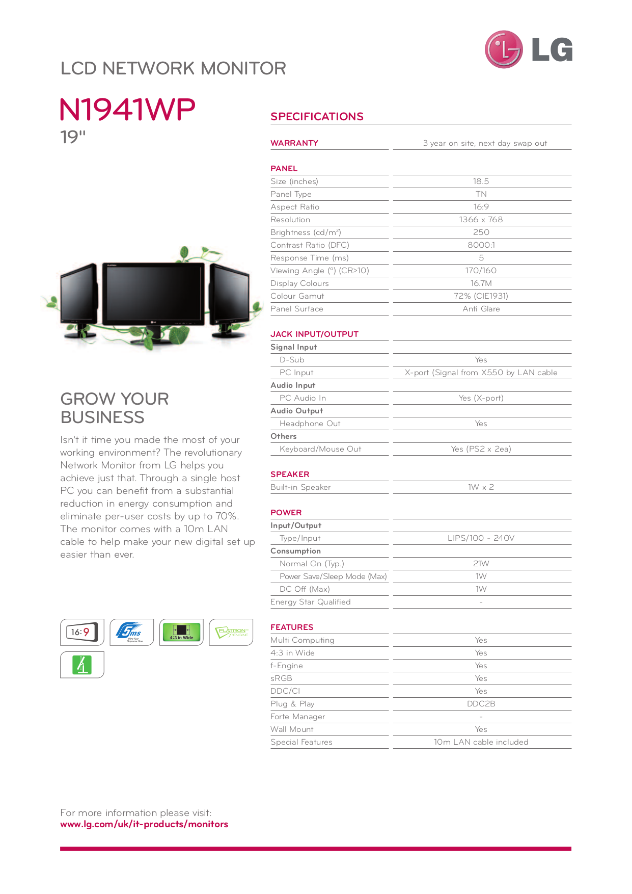 pdf for LG Monitor N1941WP manual
