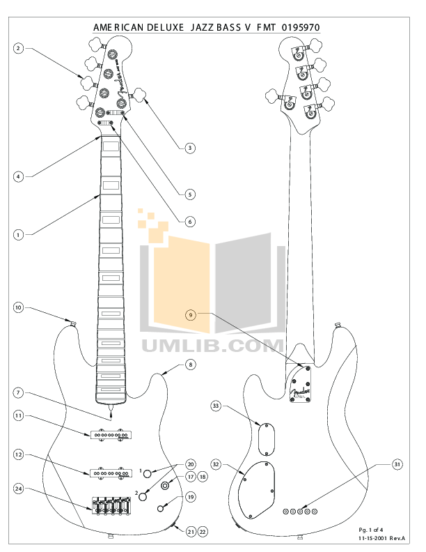 PDF manual for Fender Guitar American Deluxe Jazz Bass V