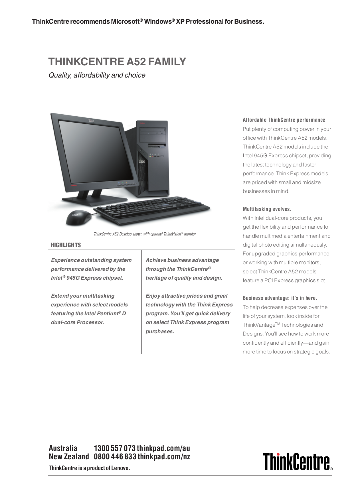 pdf for Lenovo Desktop ThinkCentre A52 8153 manual
