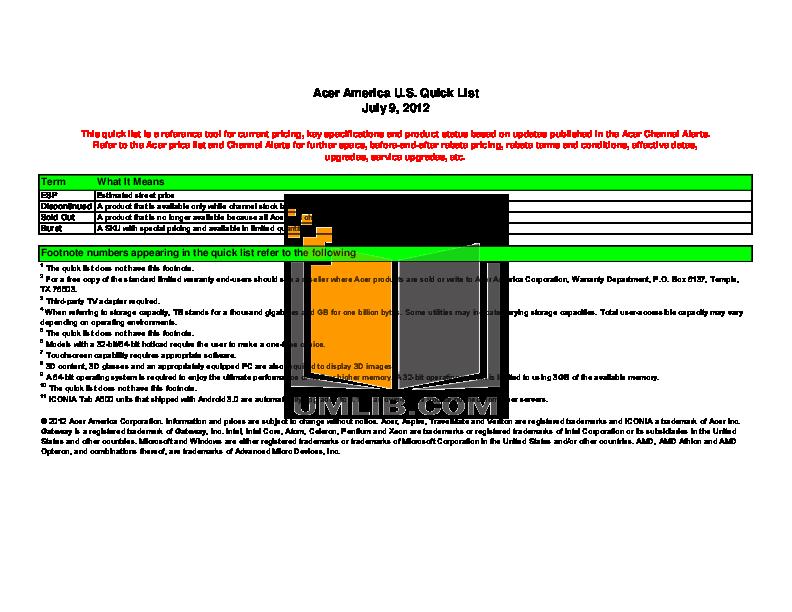 pdf for Acer Desktop Veriton 3600D manual