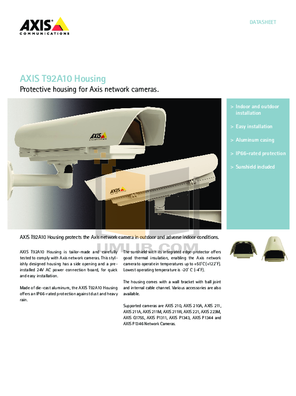 pdf for Axis Security Camera 210A manual