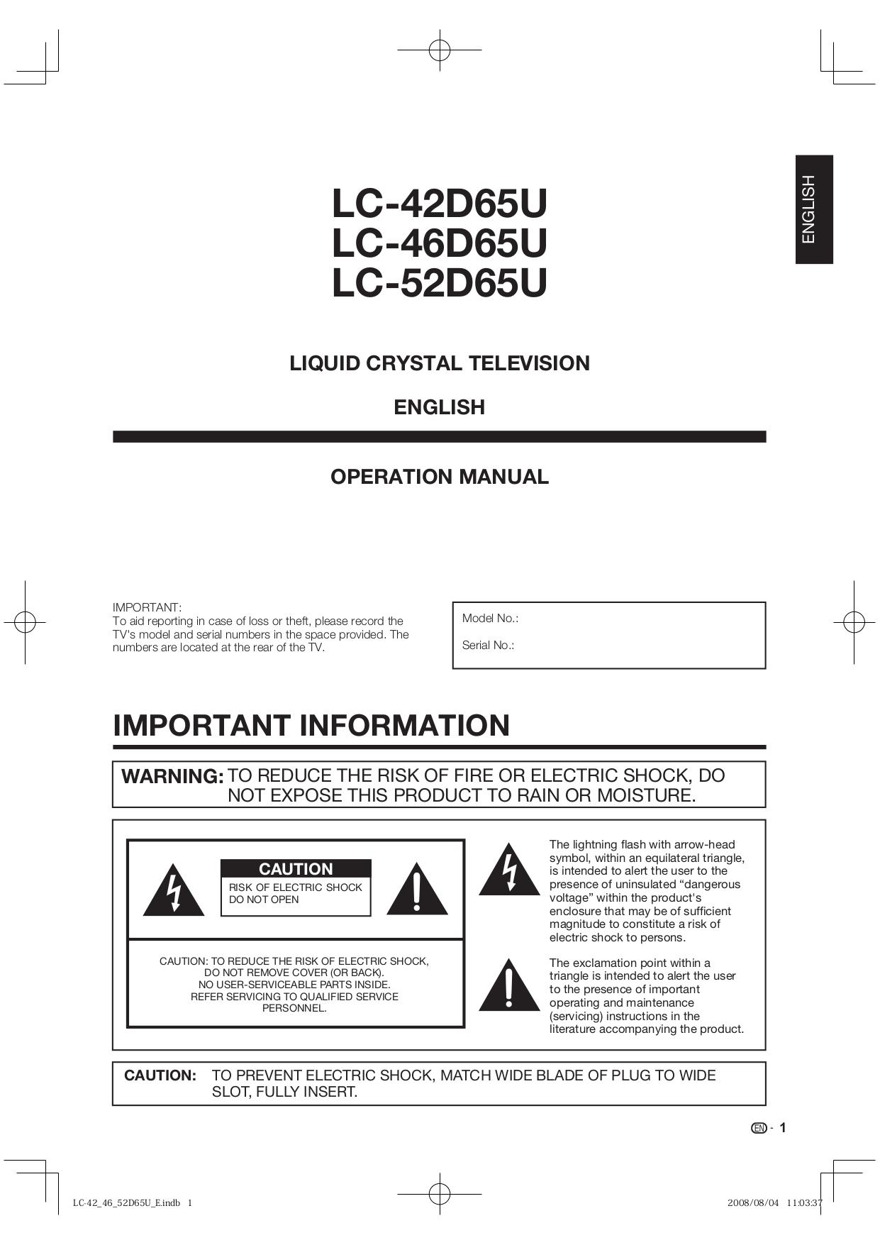 download free pdf for sharp aquos lc 42d65u tv manual rh umlib com sharp lc-42d65u service manual Microwave Oven Sharp R 308J