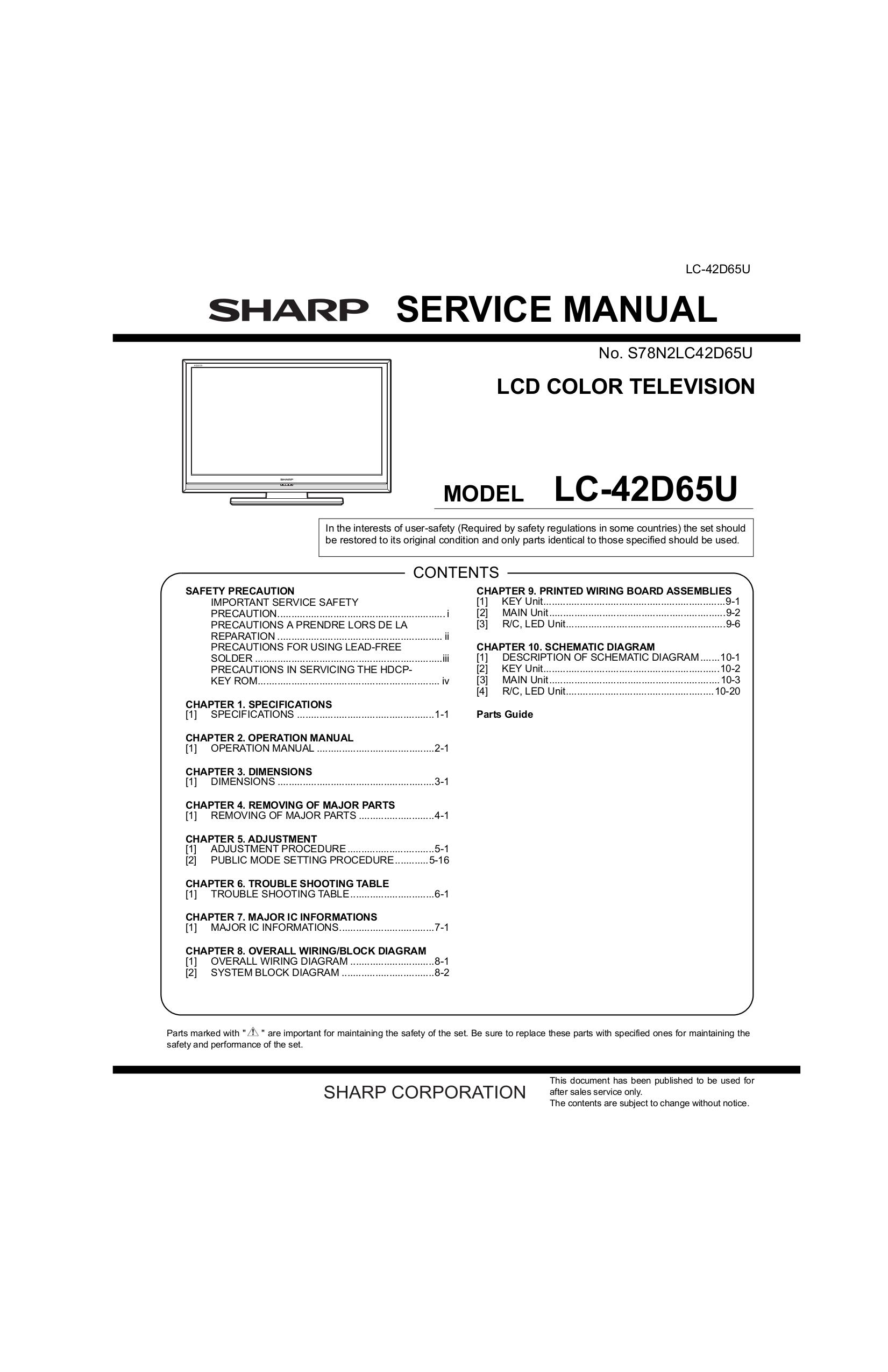 Sharp Lc42d65u Manual Typical Caravan Wiring Diagram