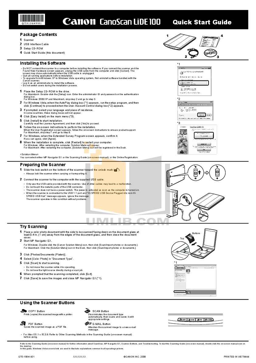 pdf for Canon Scanner CanoScan LiDE 35 manual