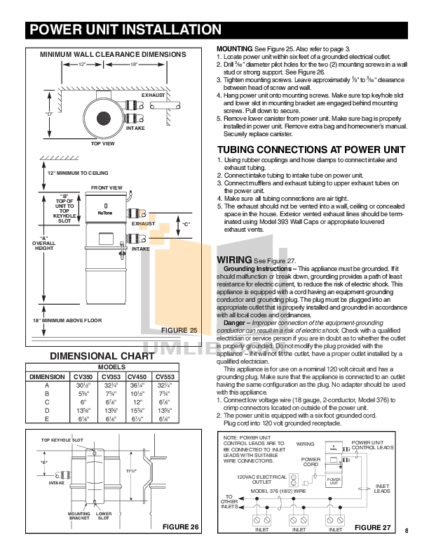 broan-nutone vacuum performance cv450 pdf page preview
