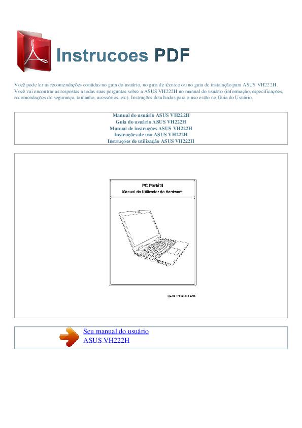 pdf for Asus Monitor VH222H manual