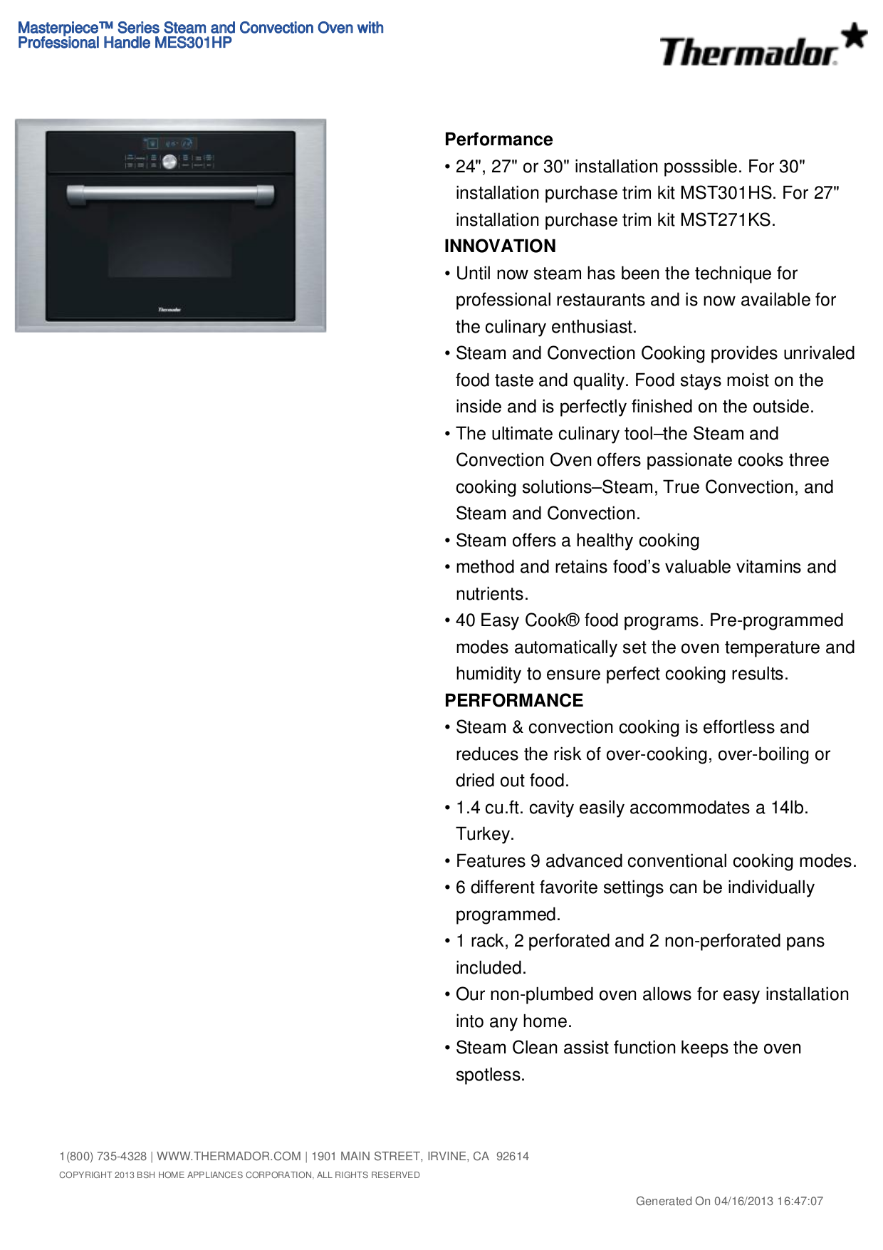 pdf for Thermador Oven MES301HP manual