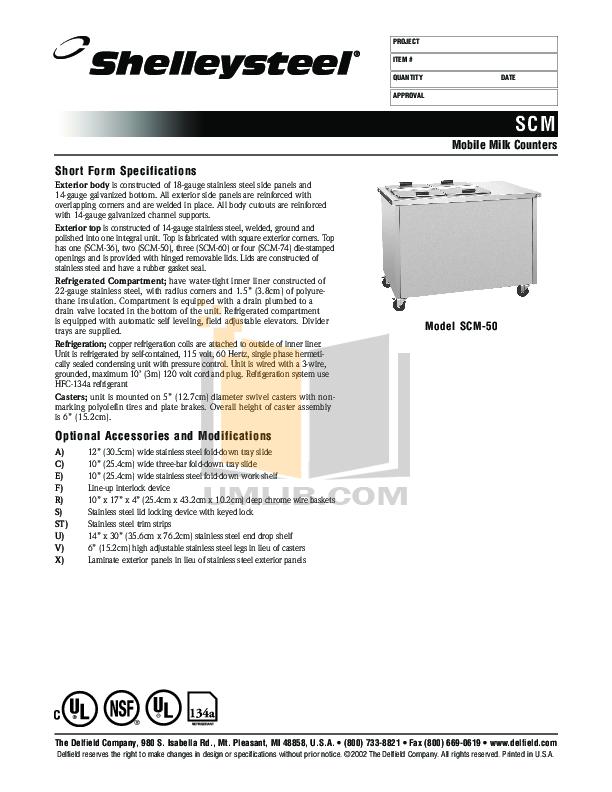 pdf for Delfield Refrigerator SCM-50 manual