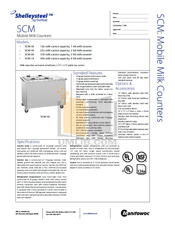 Delfield Refrigerator SCM-50 pdf page preview