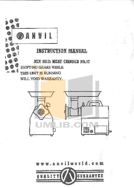 pdf for Anvil Other MIN0012 Grinders manual