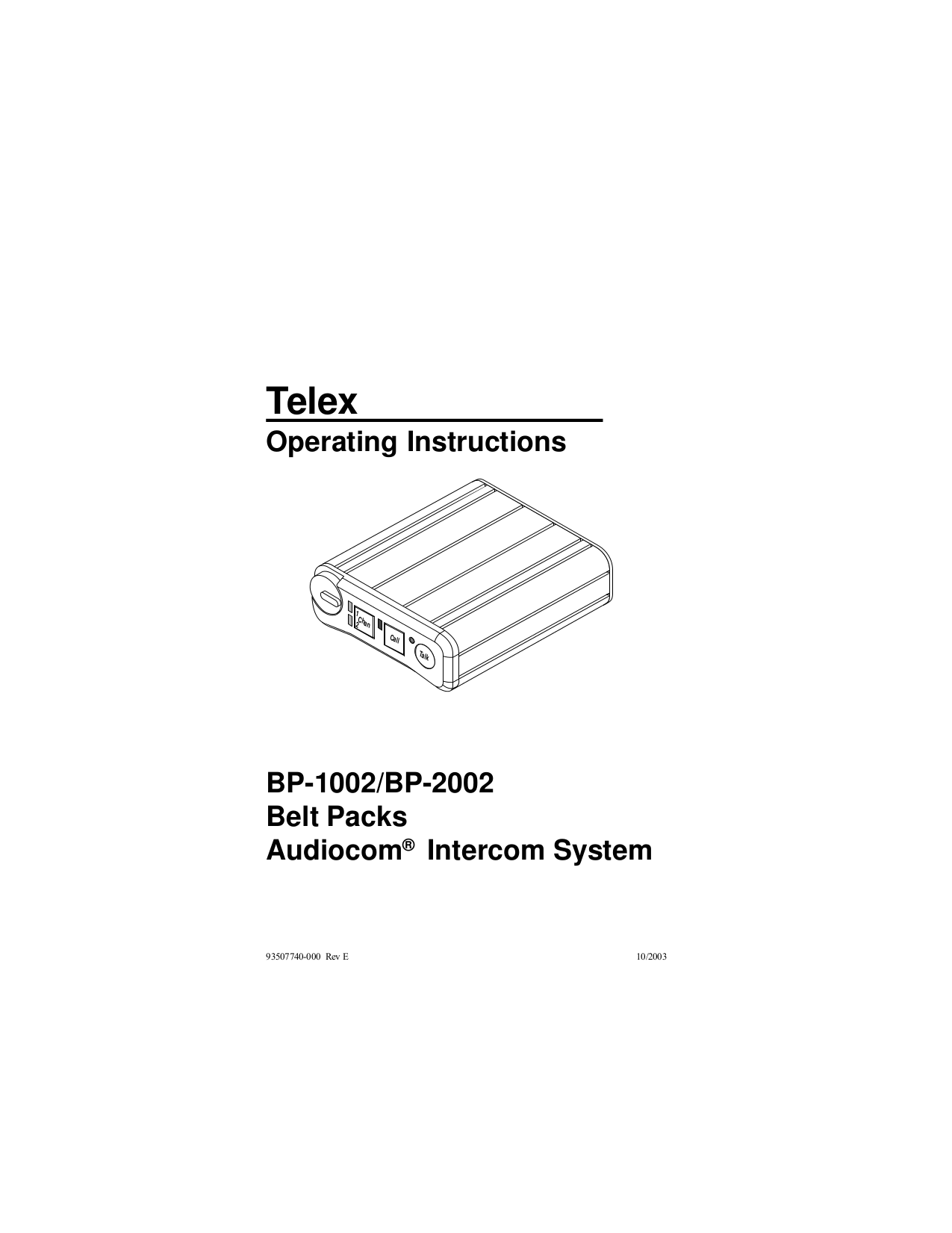 pdf for Telex Other BP-2002 Intercom System manual