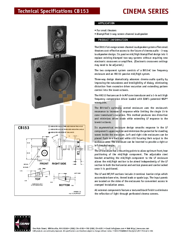 pdf for Eaw Speaker System Cinema CB150 manual