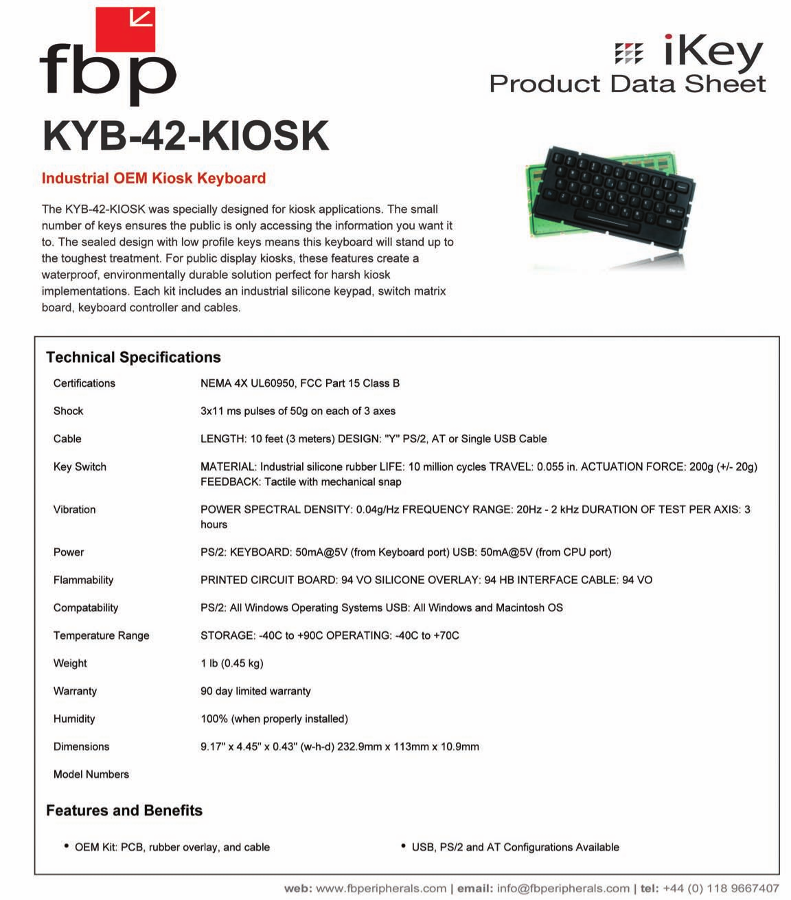 pdf for iKey Keyboard KYB-42-KIOSK manual