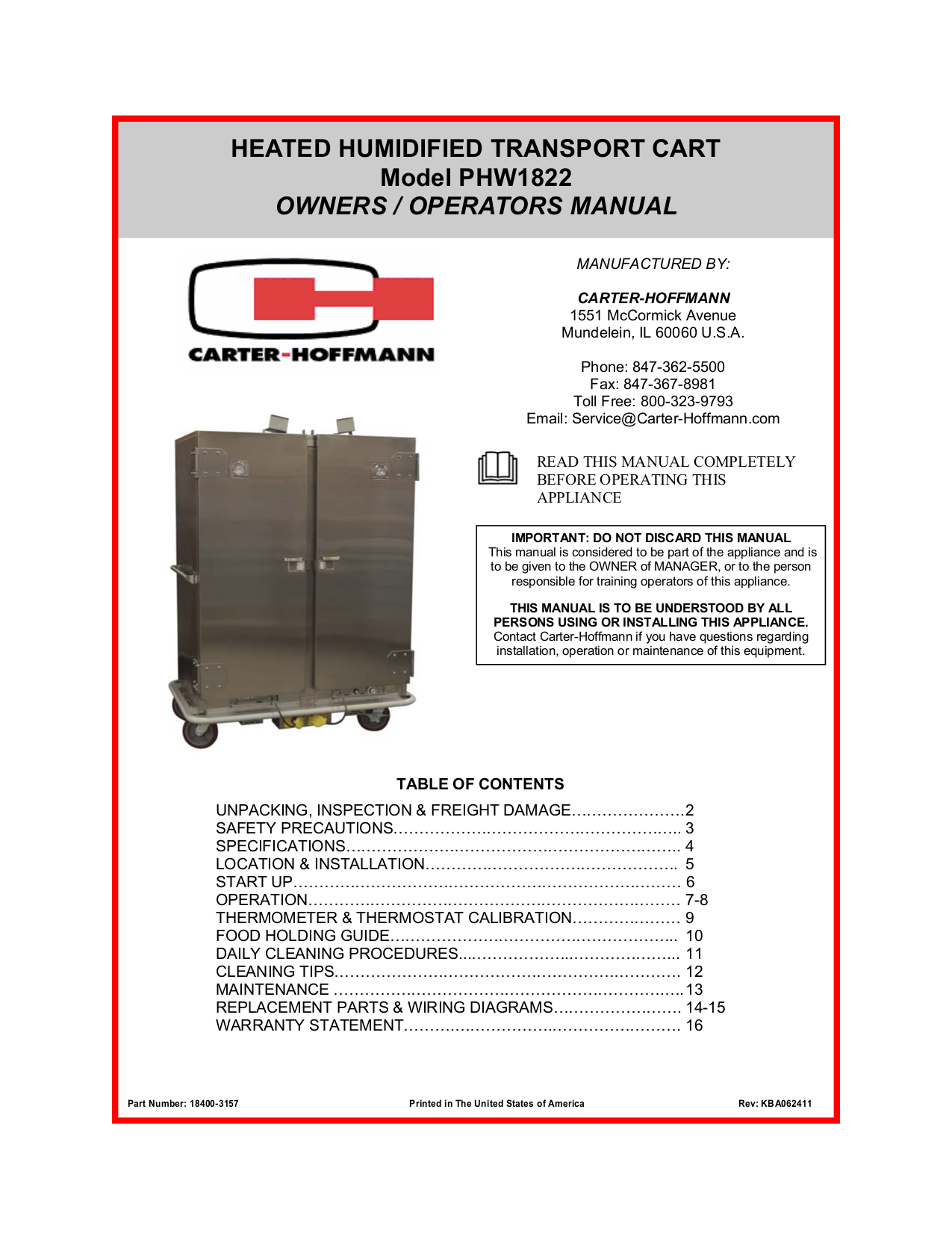 pdf for Randell Other RANFG HTD-5 Food Holding Units manual