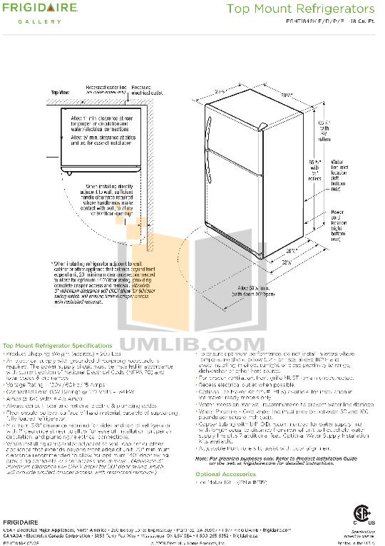 pdf for Frigidaire Refrigerator Gallery FGHT1846K manual