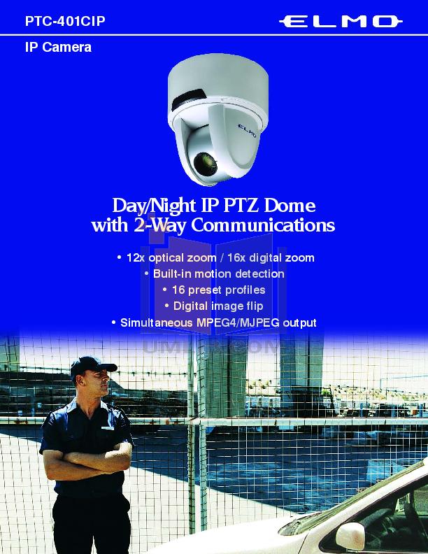 pdf for Elmo Security Camera PTC-401CIP manual