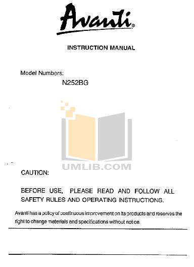 pdf for Avanti Refrigerator N252BG manual