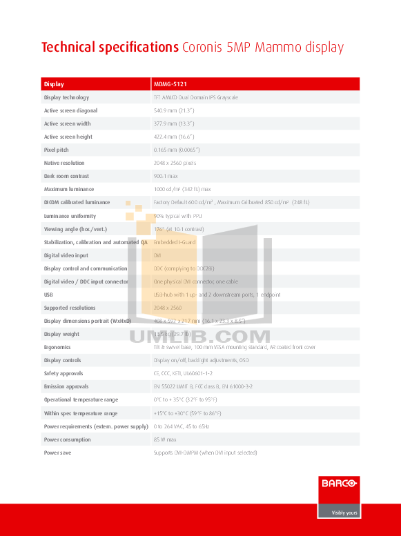 pdf for Barco Monitor Coronis 5MP Mammo manual