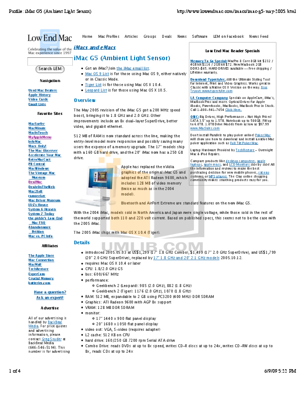 pdf for Apple Desktop iMac G5 M9843 manual