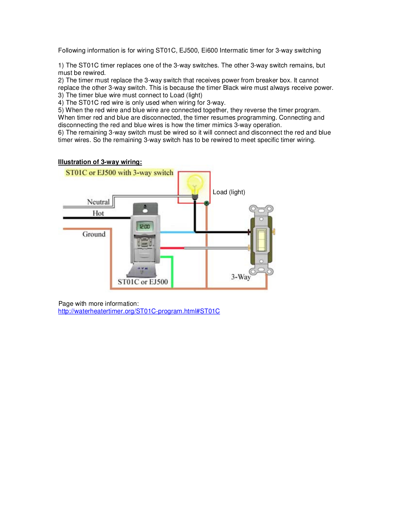 Download Free Pdf For Intermatic Ej500 Timers Other Manual 3 Way Switch Explanation