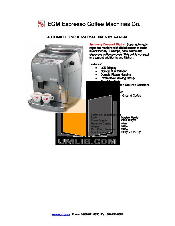 download free pdf for gaggia syncrony digital coffee maker manual rh umlib com gaggia syncrony compact digital manual pdf gaggia syncrony digital manual english
