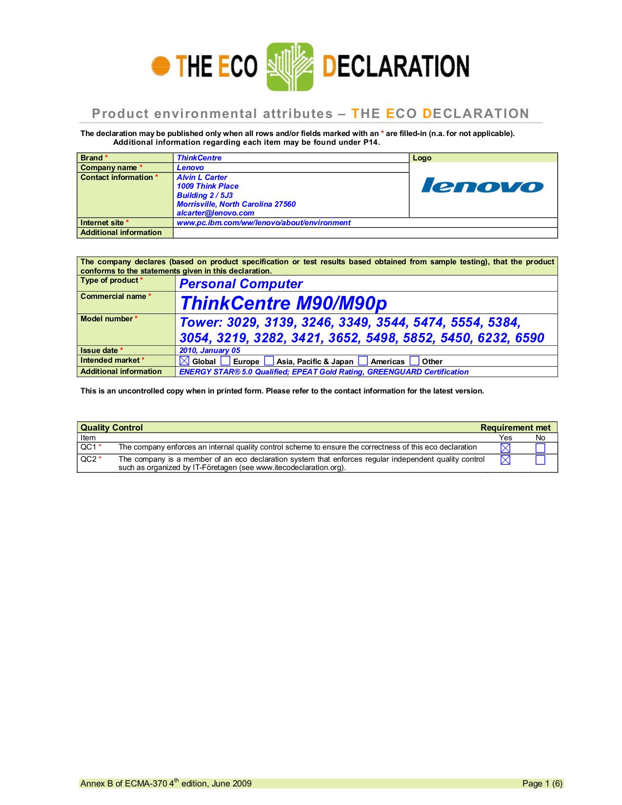 pdf for Lenovo Desktop ThinkCentre M90 5474 manual