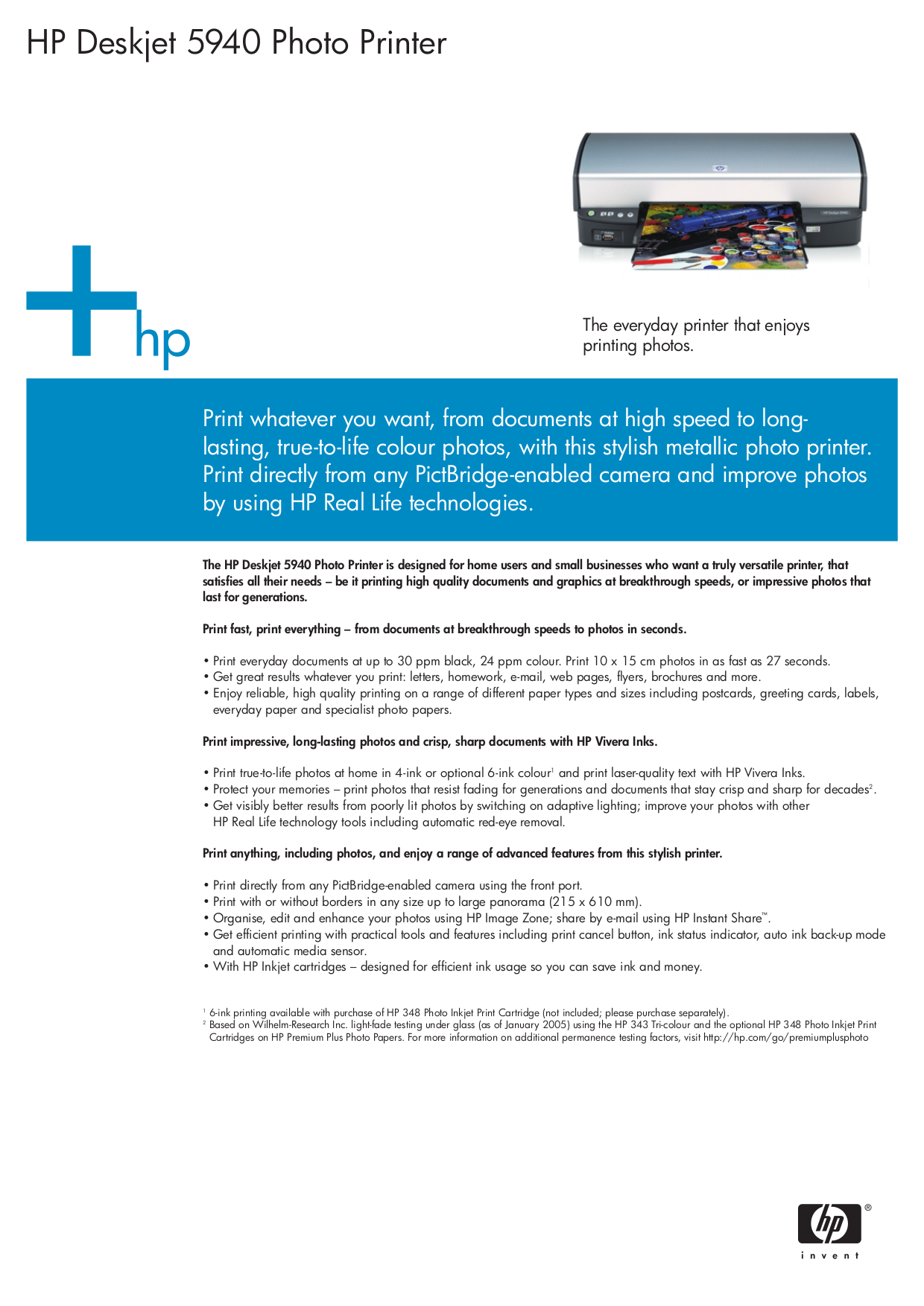 Download free pdf for HP Deskjet 5940 Printer manual