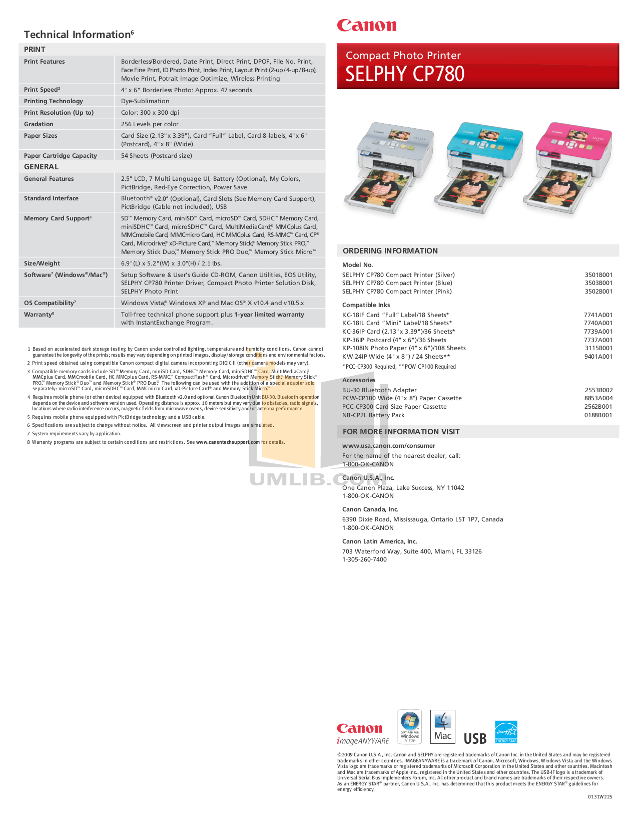 PDF manual for Canon Printer SELPHY CP780