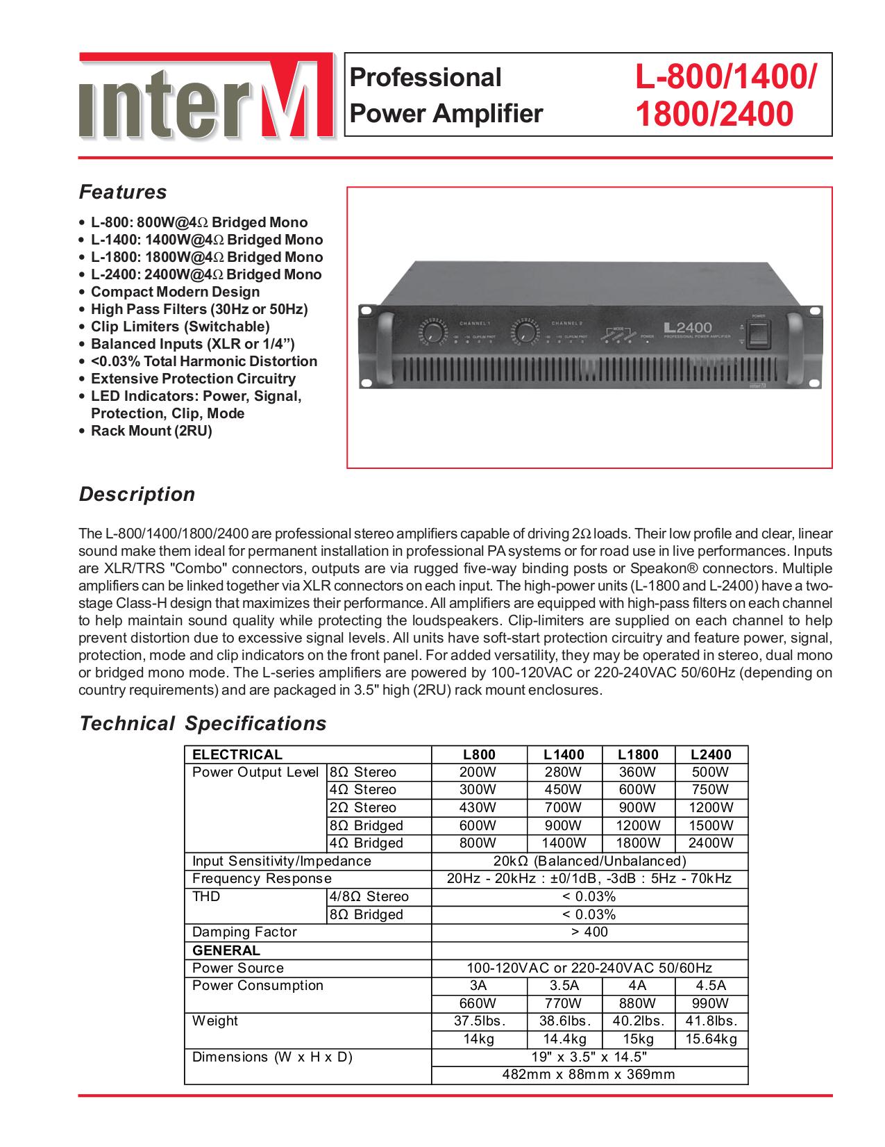 pdf for Inter-m Amp L-1400 manual