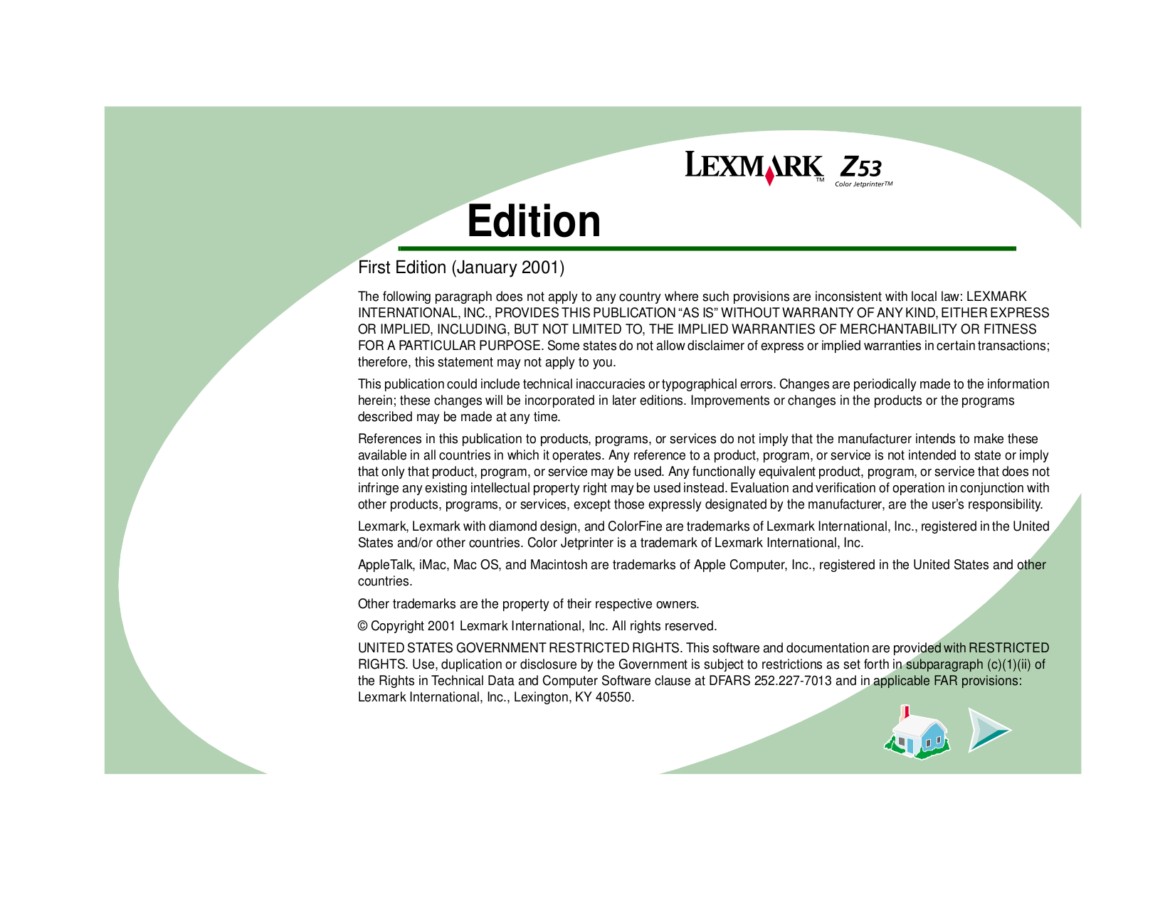 pdf for Lexmark Printer Z53 manual