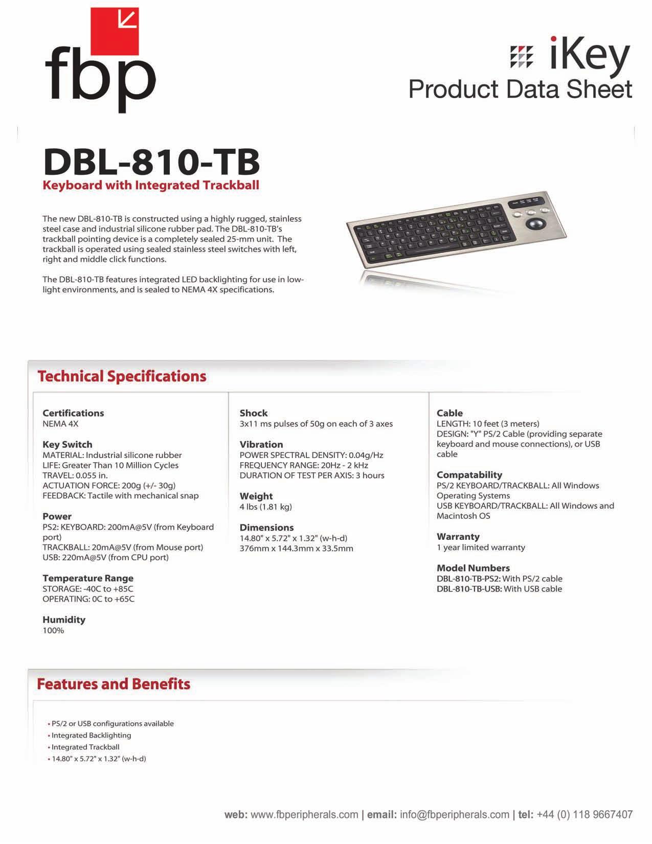 pdf for iKey Keyboard DBL-810 manual