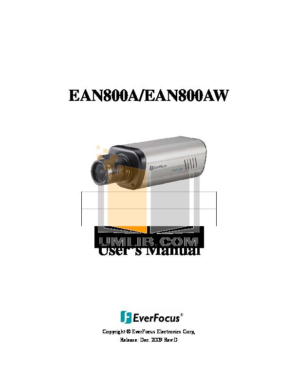 pdf for EverFocus Security Camera EAN800A manual