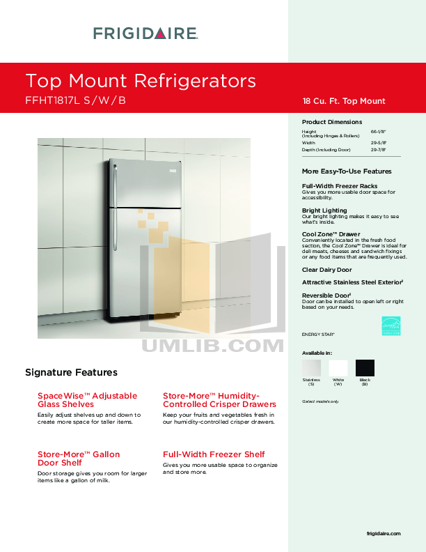 pdf for Frigidaire Refrigerator FFHT1817LS manual
