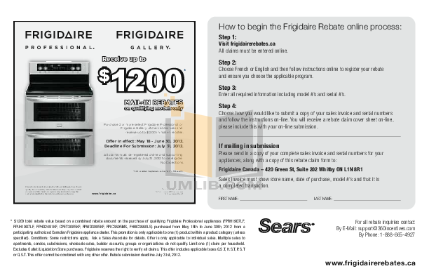 pdf for Frigidaire Refrigerator Professional FPUI2188LF manual