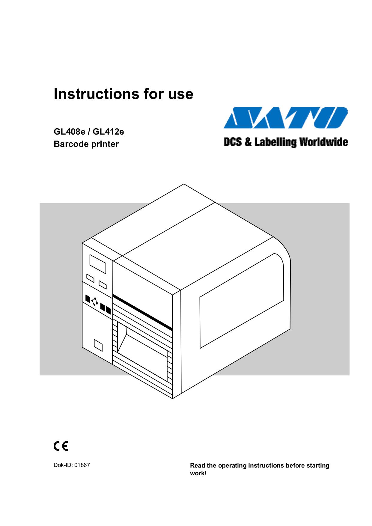 pdf for SATO Printer GL408e manual