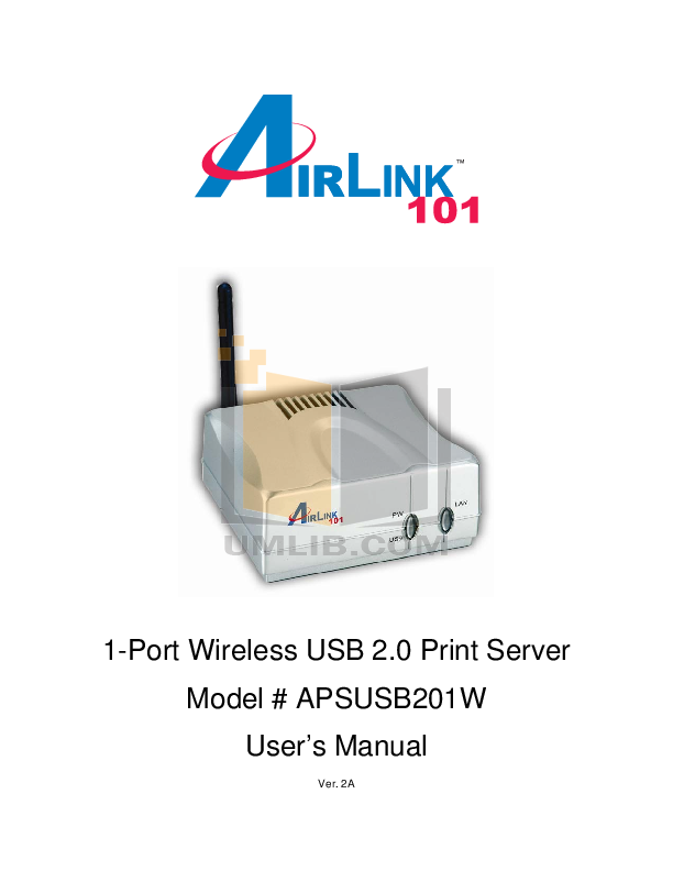pdf for Airlink Other APSUSB201W Servers manual