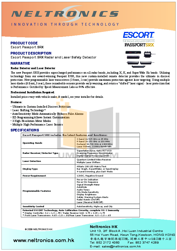 pdf for Escort Radar Detector Passport SRX manual