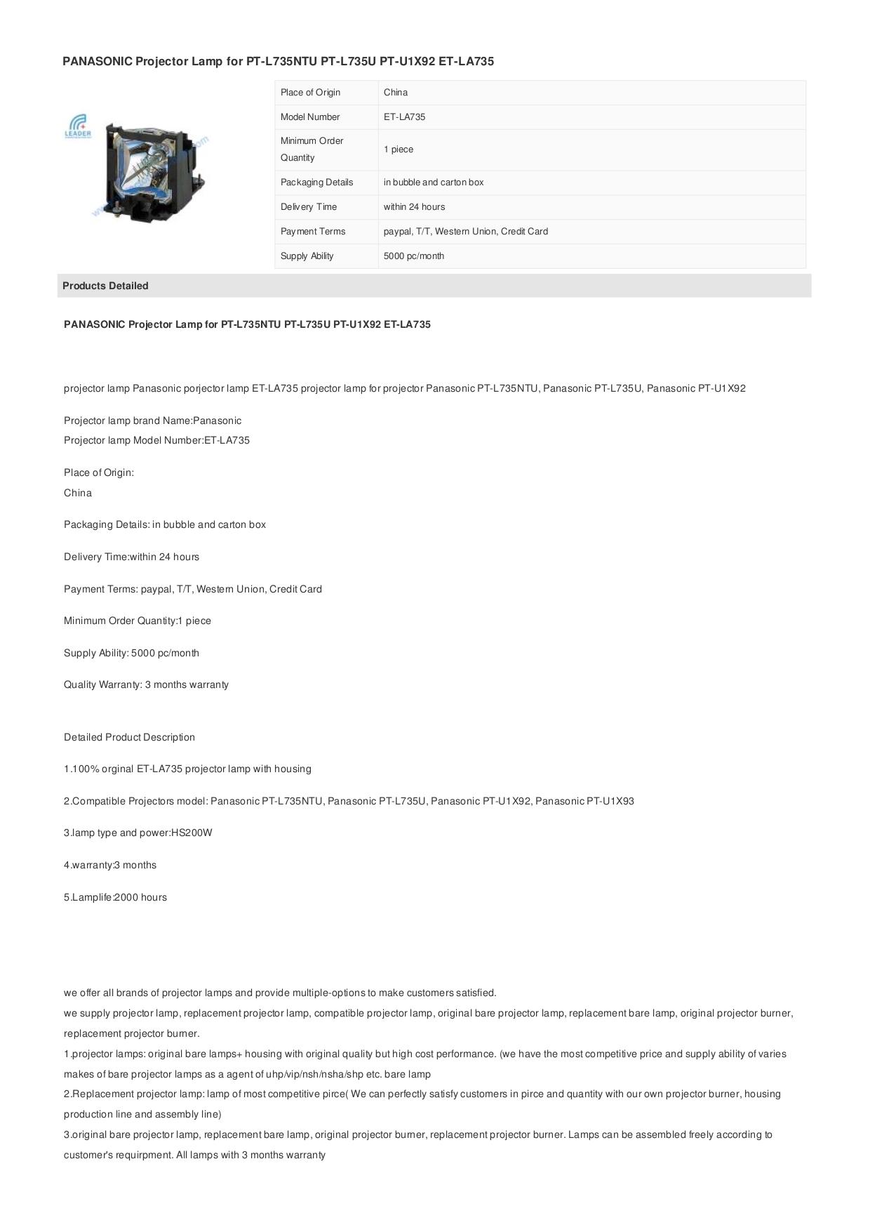 pdf for Panasonic Projector PT-L735NTU manual