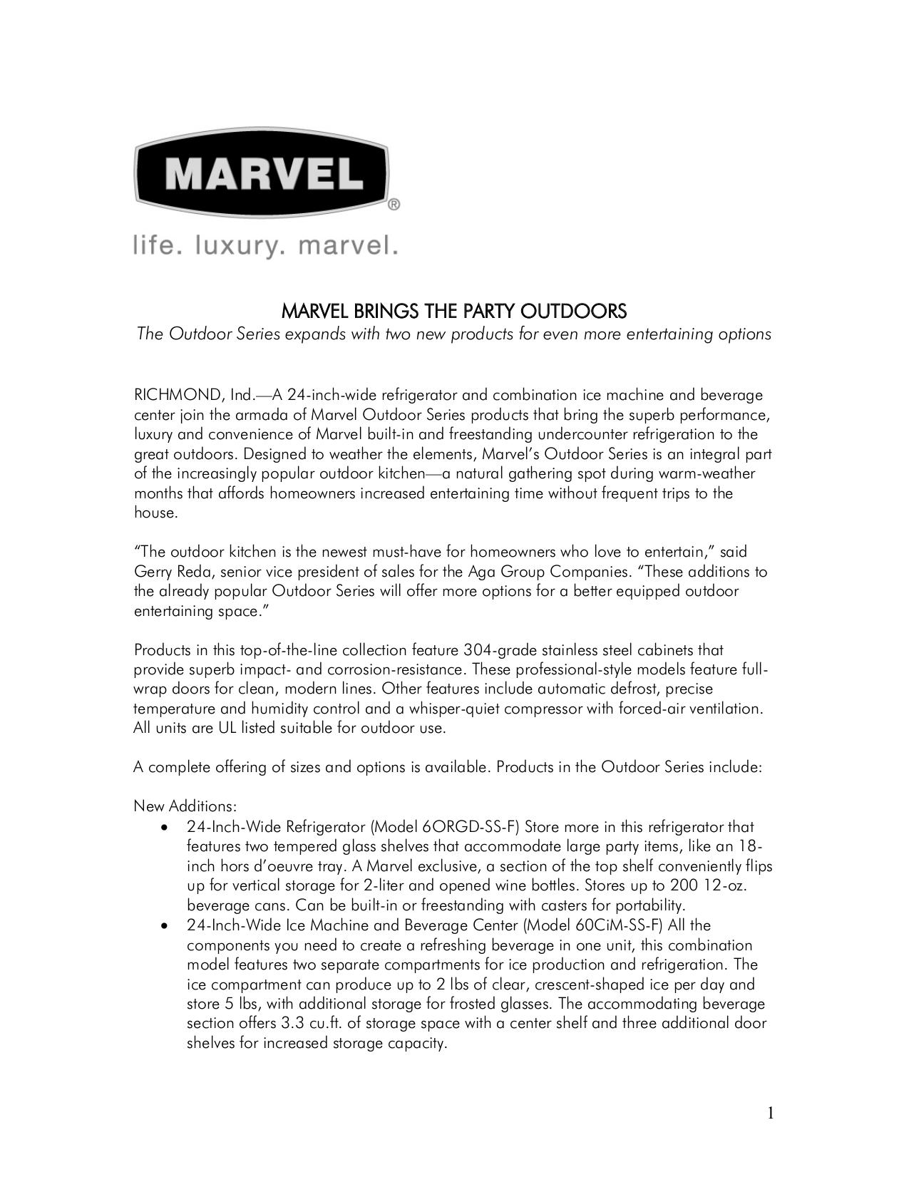 pdf for Marvel Refrigerator 6OBAR-SS-F manual