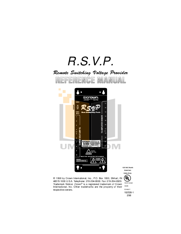 pdf for Crown Other RSVP Switchers manual