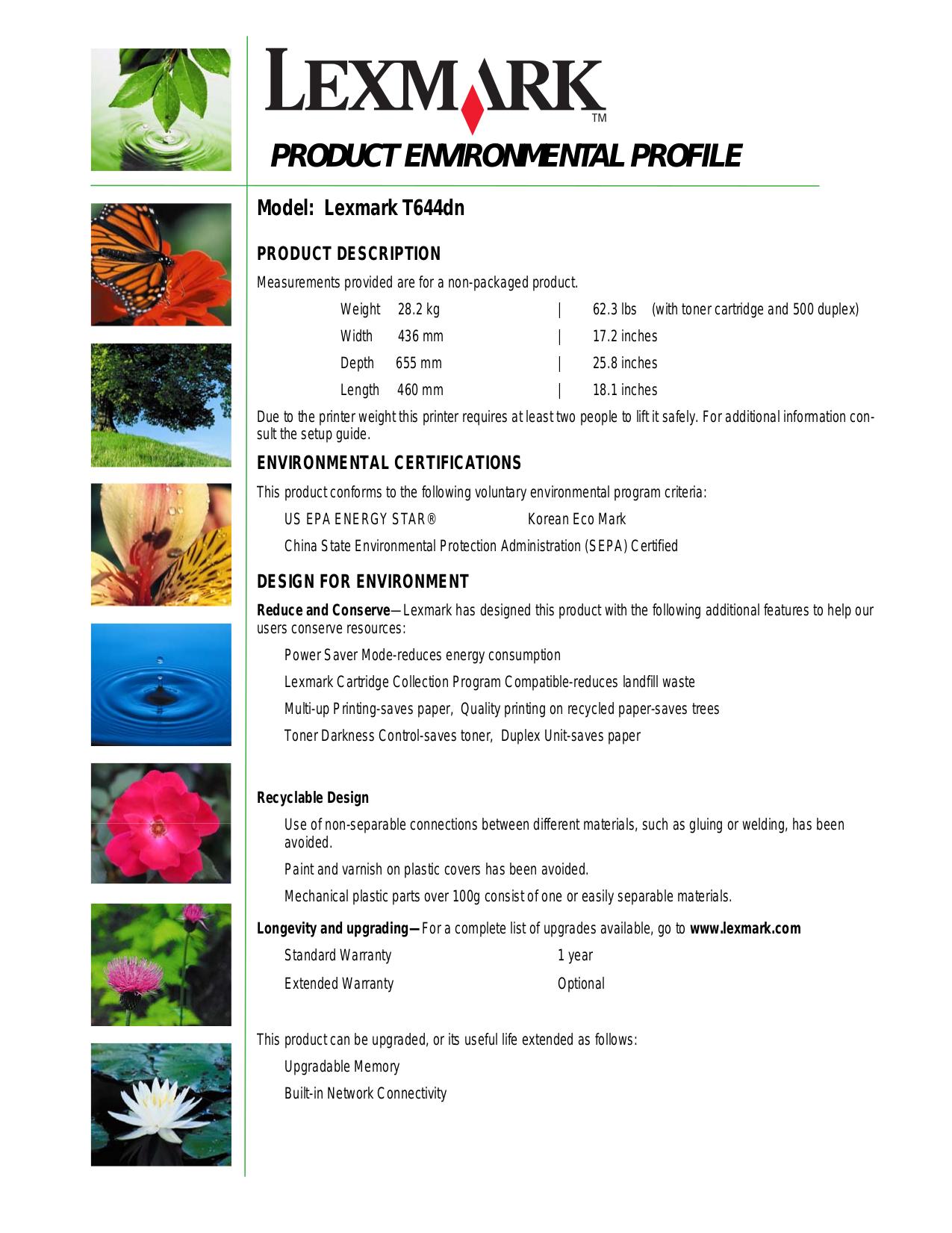 Lexmark Printer T644dn pdf page preview