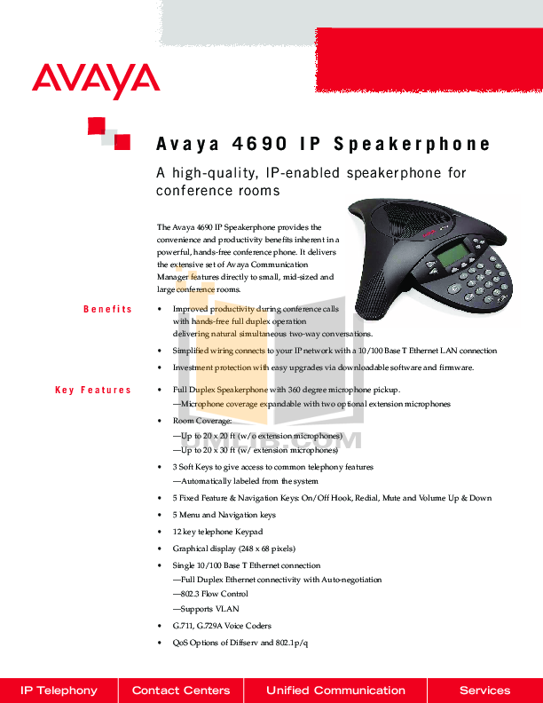 pdf for Avaya Telephone 4690IP manual