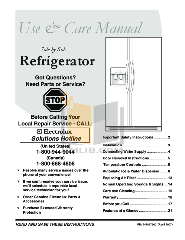 pdf for Frigidaire Refrigerator PHSC39EJSS manual