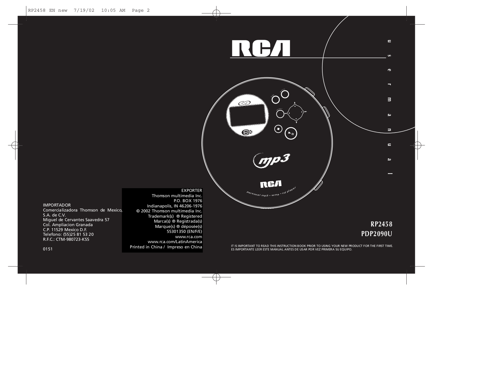 pdf for RCA CD Player RP2458 manual