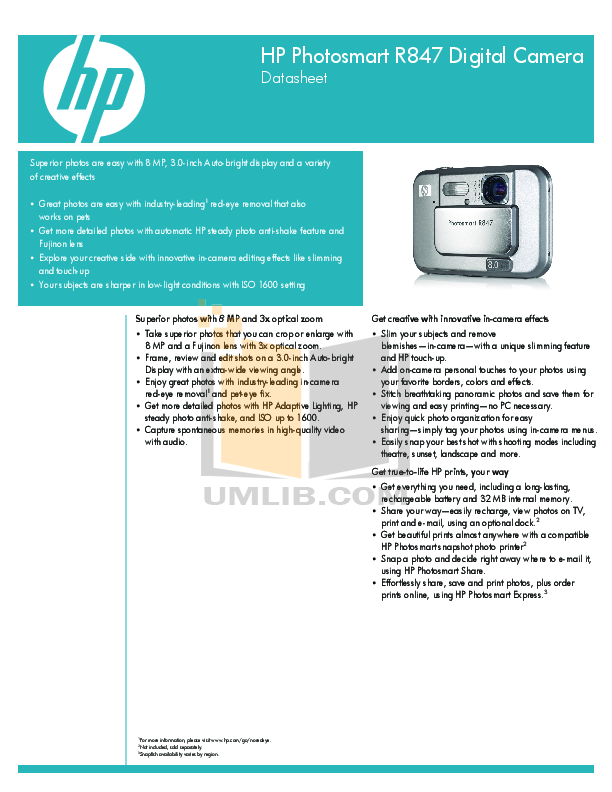 pdf for HP Digital Camera Photosmart R847 manual