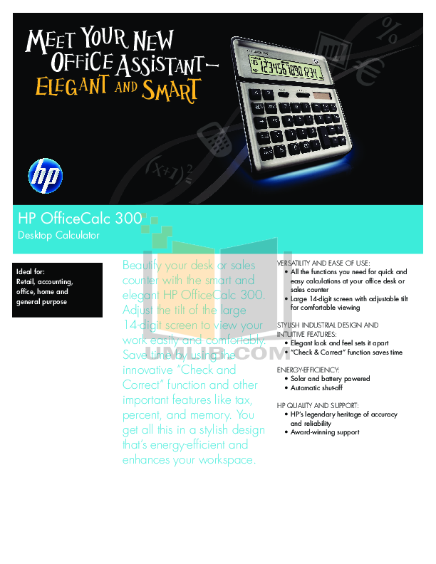 pdf for HP Calculator OfficeCalc 300 manual
